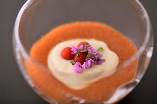 焼きトマトすり流し くみ上げ湯葉 花穂