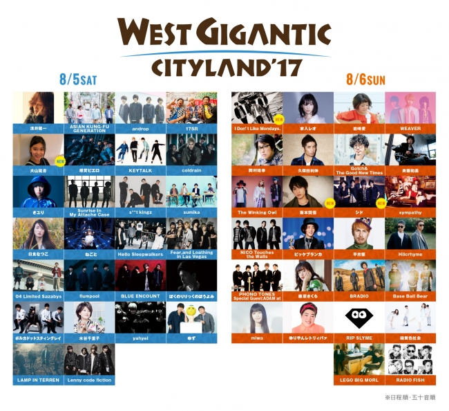 WEST GIGANTIC CITYLAND'17 出演アーティスト