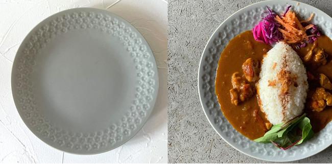 美濃焼の大皿(左)と盛りつけイメージ