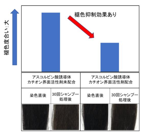 図2)褪色抑制効果の確認(色差計測値、毛髪外観像)