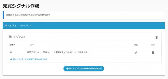 アルゴジェネレーター 売買シグナル作成画面