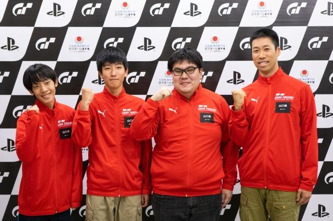 左から、山口県 少年の部・1位の吉原琉一郎選手、2位の横尾京汰選手。一般の部・1位の河井佑介選手、2位の椙本英嗣選手。