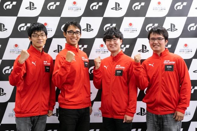 左から、宮城県 少年の部・1位の鈴木大雅選手、2位の佐藤圭選手。一般の部・1位の佐藤光選手、2位の鈴木裕規選手。