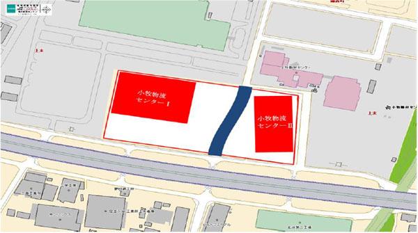 [位置图]※两个中心的蓝色画部分新建的城市道路