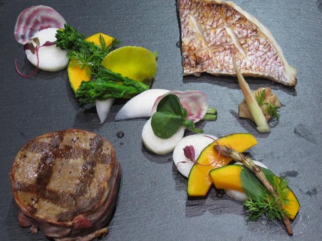 プライムフィレ肉のトルネードステーキ&鯛の西京焼き