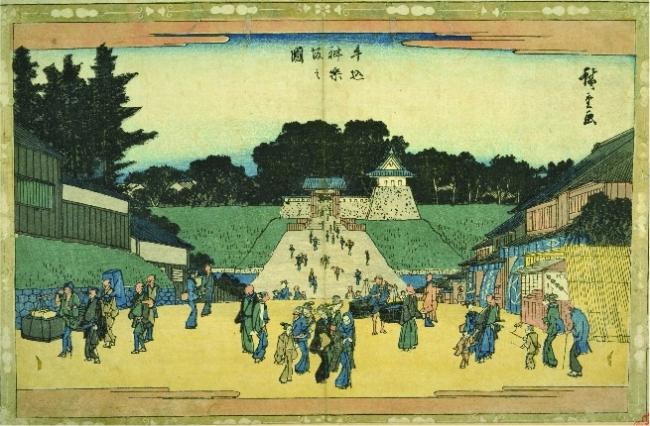 歌川広重の浮世絵「牛込神楽坂の図」
