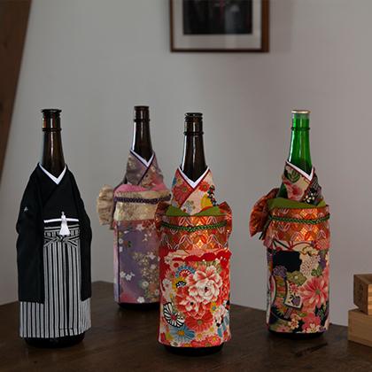 外国人に一番人気の着物ボトルウェアは、  ワインボトルに着せるだけで素敵なインテリアに。