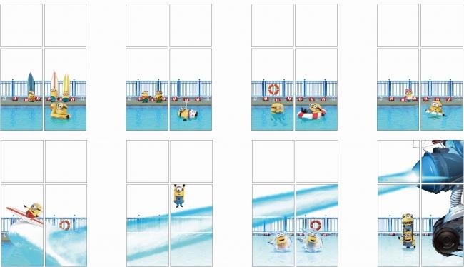 全長約115mのロビーに広がる窓には、プール遊びを楽しむミニオンたち。そこに「巨大凍らせ銃」が突然現れて、大あばれ!プールはあっという間に凍りつき、ミニオンたちが次々と・・・?!