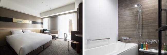 左写真:スーペリアルーム、右写真:スタンダードルーム バスルーム
