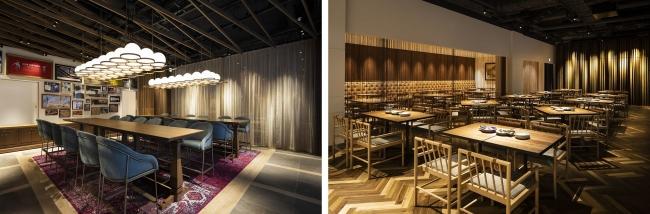 左写真:泡のようなライトが印象的なハイチェア席、右写真:広々としたダイニングホール
