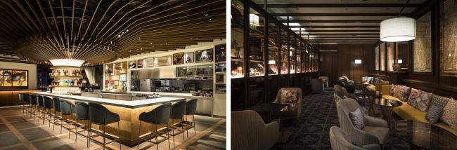 左写真:天井の和傘が印象的なバーカウンター、右写真:アンティークな小物などに囲まれたバーラウンジ