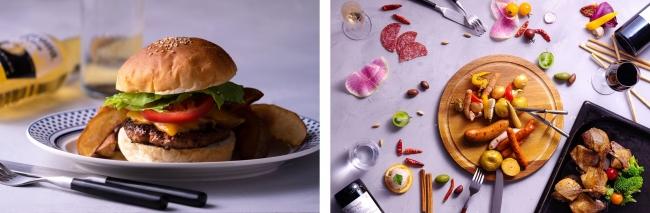 左写真:ボリュームあるグルメバーガー、右写真:ディナーイメージ