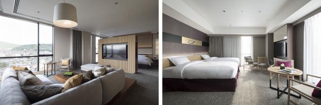 左写真:プレミアムスイート、右写真:デラックスルーム