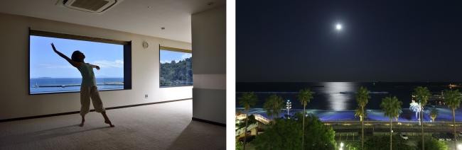 左写真:体験プログラムイメージ、右写真:ホテルからの相模湾(ムーンロード)
