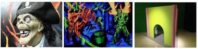 左・中央:3Dホラーハウス(恐怖の海賊船)イメージ、 右:ふしぎ科学展 イメージ