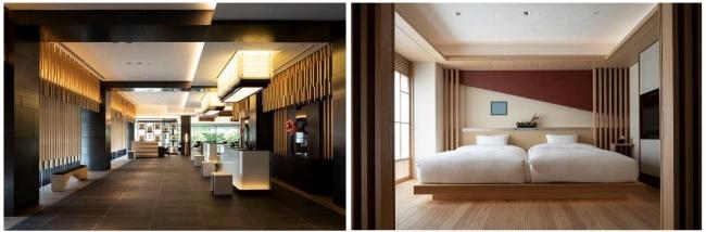 左:エントランスロビー、右:客室「和スイート」