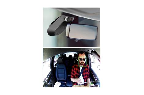 上:「ナウト」を車内から撮影した画像、下:インカメラからの映像