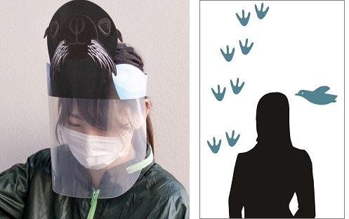 館内で使用するフェイスガード(左)、 ビニールシート(右)(イメージ)