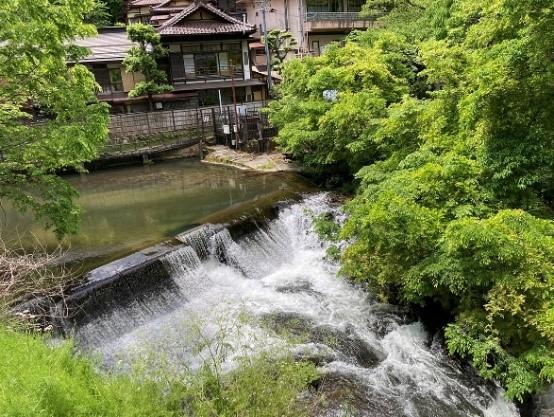 東山温泉街を流れる湯川を見ながら散策