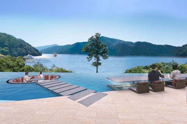 『箱根・芦ノ湖 はなをり』 ロビーから続く水盤テラス、  足湯カウンターから芦ノ湖を一望できます。