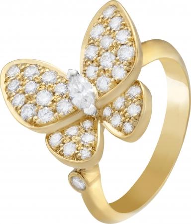 ドゥ パピヨン リング 1モチーフ(イエローゴールド、ホワイトゴールド、ダイヤモンド)