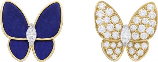 ドゥ パピヨン イヤリング(イエローゴールド、ホワイトゴールド、ダイヤモンド、ラピスラズリ)