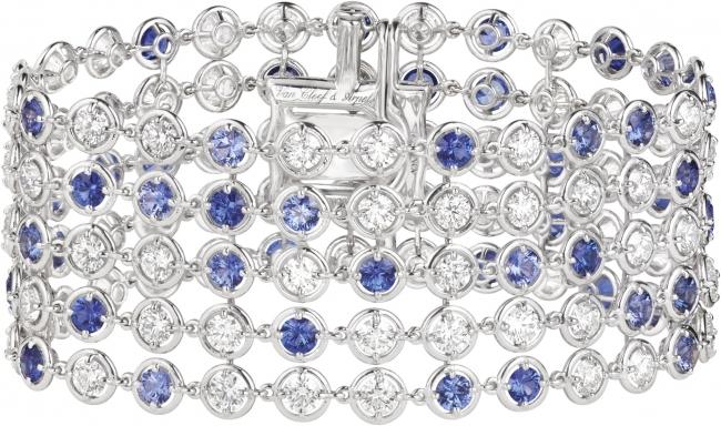 ブリュム ド サフィール ブレスレット(ホワイトゴールド、ブルーサファイア、ダイヤモンド)