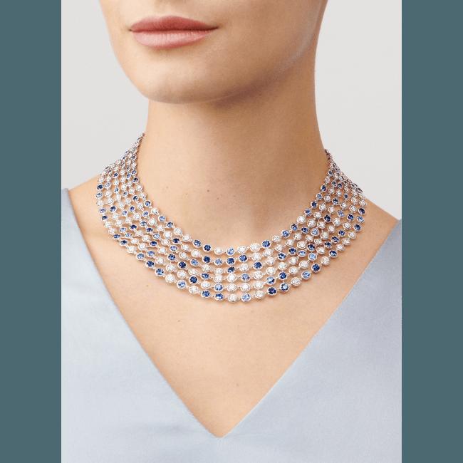 ブリュム ド サフィール ネックレス(ホワイトゴールド、ブルーサファイア、ダイヤモンド)
