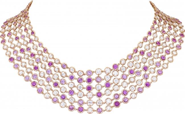 ブリュム ド サフィール ネックレス(ローズゴールド、ピンクサファイア、ダイヤモンド)