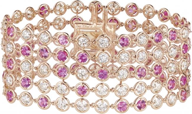 ブリュム ド サフィール ブレスレット(ローズゴールド、ピンクサファイア、ダイヤモンド)