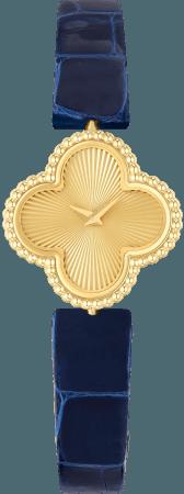 スウィート アルハンブラ ウォッチ(イエローゴールド、交換可能なアリゲーターストラップ、 クォーツムーブメント)