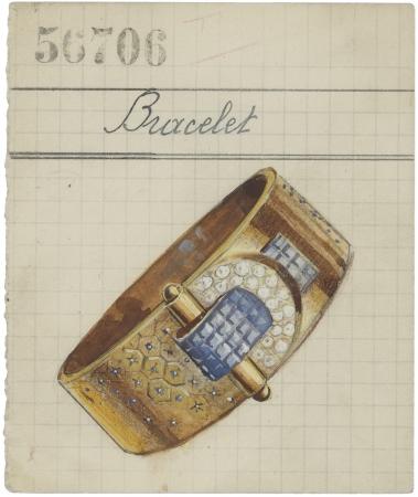 ルド ヘキサゴン ブレスレットが 描かれたプロダクトカード、1946年 ヴァン クリーフ&アーペル アーカイブ