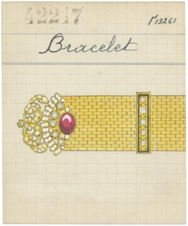 ルド ブレスレッドが描かれた プロダクトカード、1934年 ヴァン クリーフ&アーペル アーカイブ