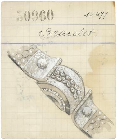 ルド ヘキサゴン ブレスレットが 描かれたプロダクトカード、1939年 ヴァン クリーフ&アーペル アーカイブ