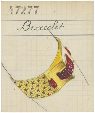 ルド ヘキサゴン ブレスレットが 描かれたプロダクトカード、1937年 ヴァン クリーフ&アーペル アーカイブ