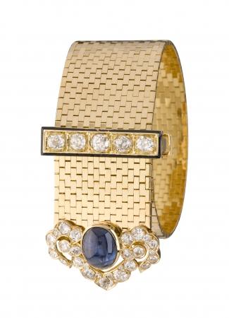 ルド ブリケット ブレスレット、1934年(イエローゴールド、サファイア、エメラルド、ダイヤモンド) ヴァン クリーフ&アーペル コレクション