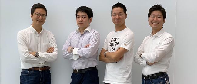 左から代表取締役CEO前川英麿、  VPoE 伊東正幸、  執行役員CTO 田邊賢司、  代表取締役COO山口豪志
