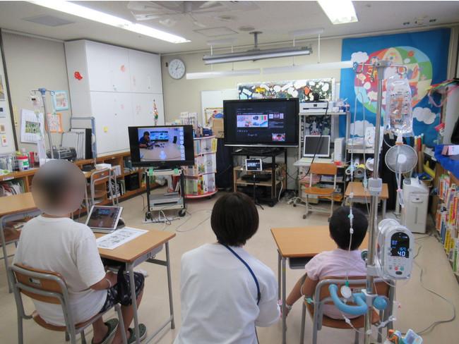 ワークショップ時の横浜市立大学附属病院の院内学級