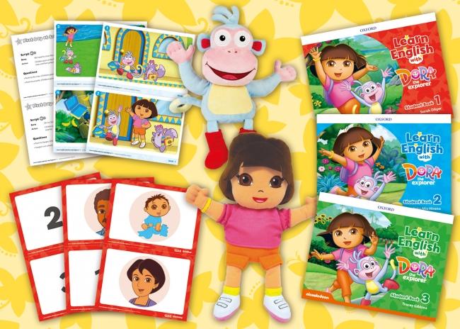 『Learn English with Dora the Explorer』レベル1 スチューデントブック ISBN 9780194052146 参考価格:2,100円(税抜)ほか