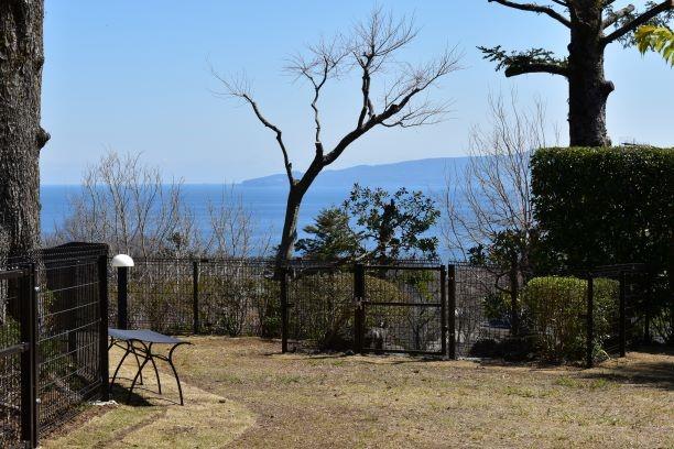 愛犬コミュニティ広場から大島が望める抜群の眺望