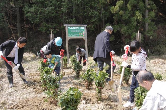▲ツツジや果樹などを子どもたちと一緒に植樹しました