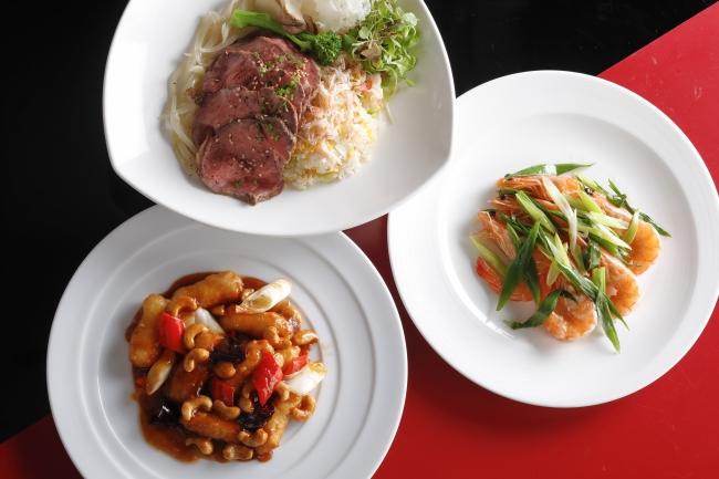中国料理「四川」中華風ローストビーフ 蟹チャーハン、有頭海老の炒め にんにく風味、タラバ蟹の炒め