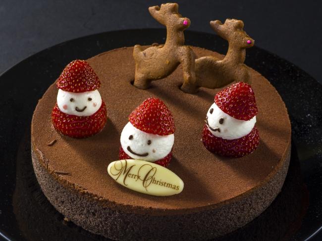 いちごサンタのチョコレートケーキ