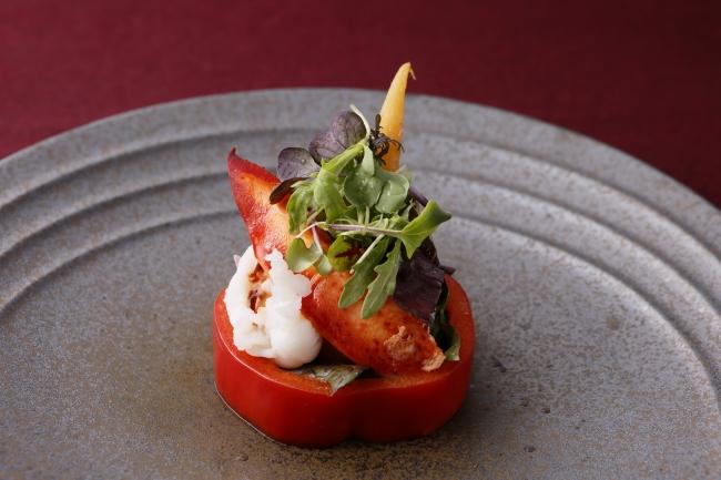 【鉄板焼】オマール海老のサラダ仕立て 白バルサミコの香り