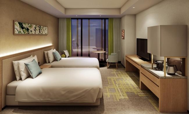 【スーペリア】開放的な全面窓面にベンチソファを設え、機能的で心地よい快適な滞在をお約束。