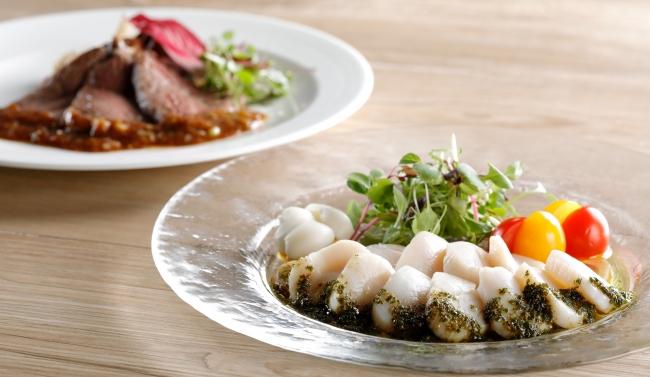北海道産 帆立貝のサラダ仕立て 山椒ソース、十勝牛フィレ肉の炙り焼 沙茶醤ソース
