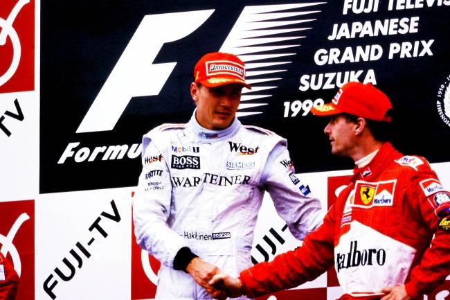 2度目の年間チャンピオンを獲得した、 1999年F1日本GP表彰台