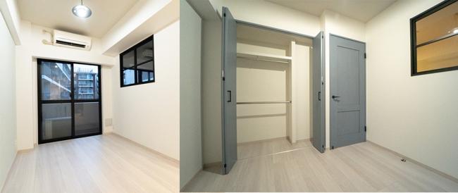 ▲リビングを広く見せる工夫の一つとして、リビングと洋室に間仕切りの窓を設置