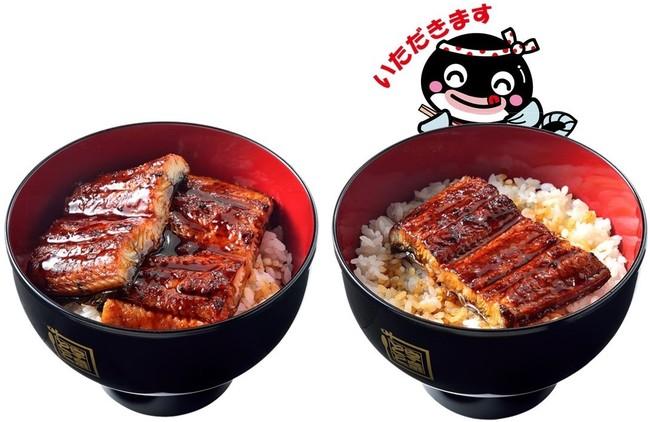 一番人気のうな丼ダブル(左)と看板メニューのうな丼(右)