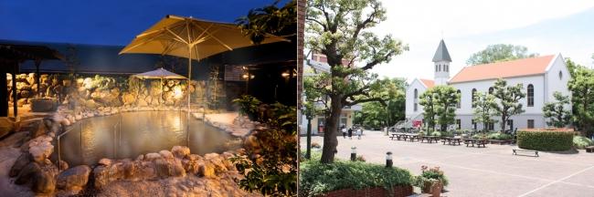 (画像左)天然温泉「湯の華廊」夜景(画像右)ビアガーデン会場「にしまちチャーチ広場」
